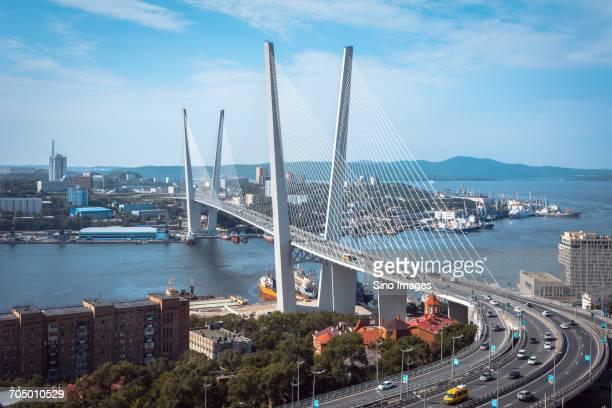 Zolotoy Bridge under blue sky