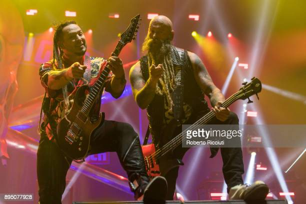 Zoltan Bathory and Chris Kael of Five Finger Death Punch perform live on stage at The SSE Hydro on December 18 2017 in Glasgow Scotland