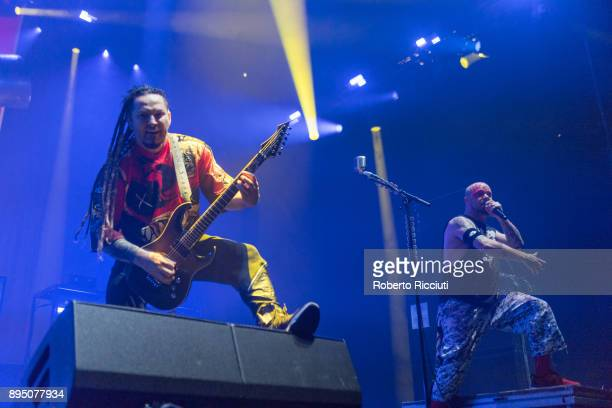 Zoltan Bathory and Ivan Moody of Five Finger Death Punch perform live on stage at The SSE Hydro on December 18 2017 in Glasgow Scotland