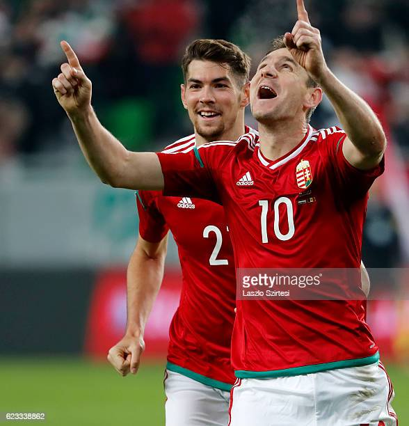 Zoltan Gera of Hungary celebrates his goal with Barnabas Bese of Hungary during the FIFA 2018 World Cup Qualifier match between Hungary and Andorra...