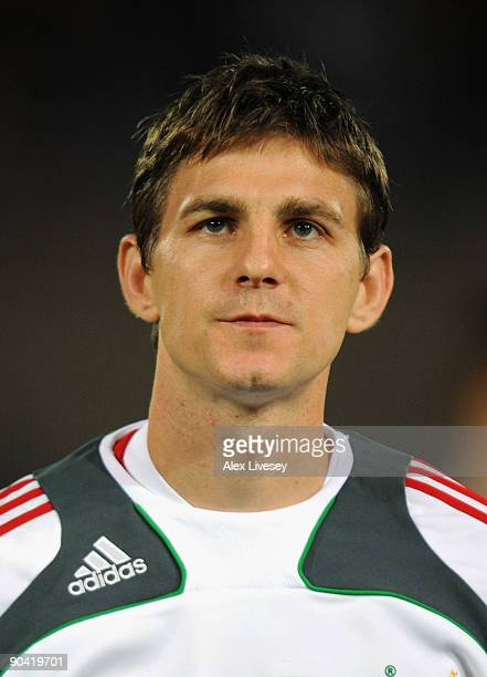 Zoltan Gera of Hungary lines up before the FIFA2010 World Cup Qualifier match between Hungary and Sweden at the Ferenc Puskas Stadium on September 5...