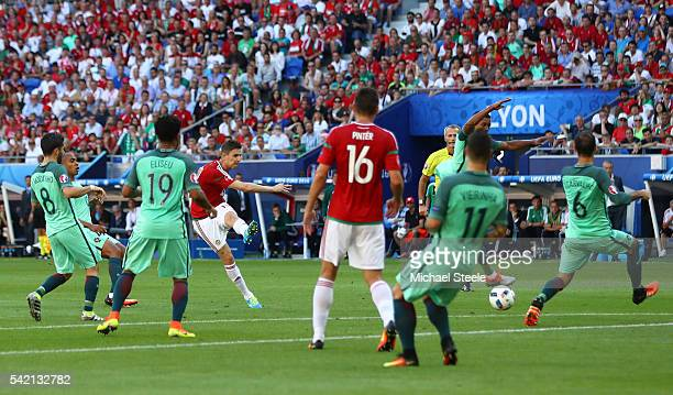 Zoltan Gera of Hungary scores the opening goal during the UEFA EURO 2016 Group F match between Hungary and Portugal at Stade des Lumieres on June 22...