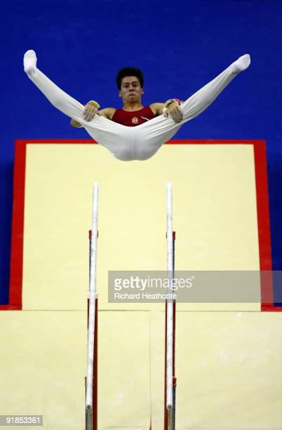 Zoltan Kallai of Hungary competes in the parallel bars during the Artistic Gymnastics World Championships 2009 at O2 Arena on October 13 2009 in...