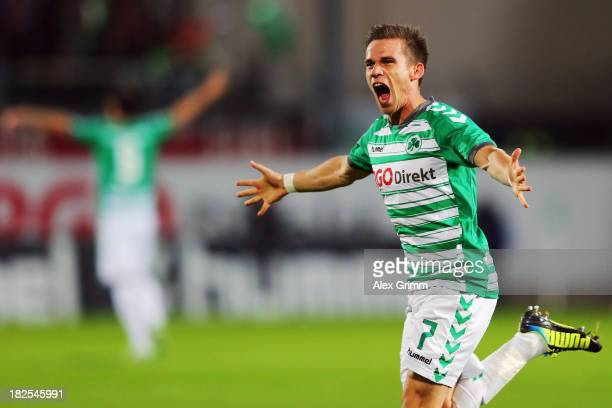 Zoltan Stieber of Greuther Fuerth celebrates his team's first goal during the Bundesliga match between SpVgg Greuther Fuerth and Dynamo Dresden at...