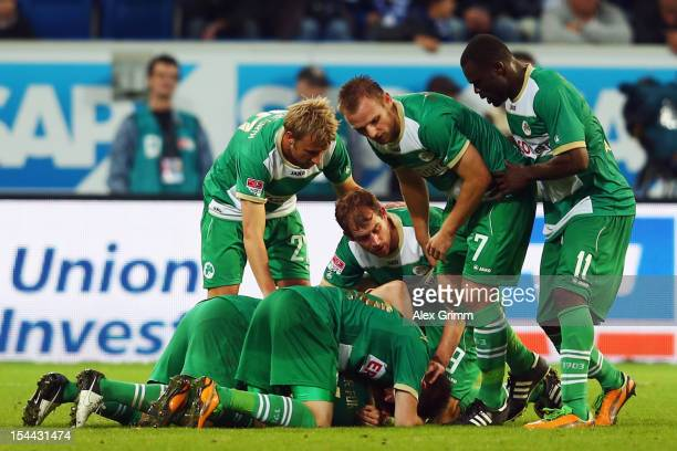 Zoltan Stieber of Greuther Fuerth celebrates his team's second goal with team mates during the Bundesliga match between 1899 Hoffenheim and SpVgg...