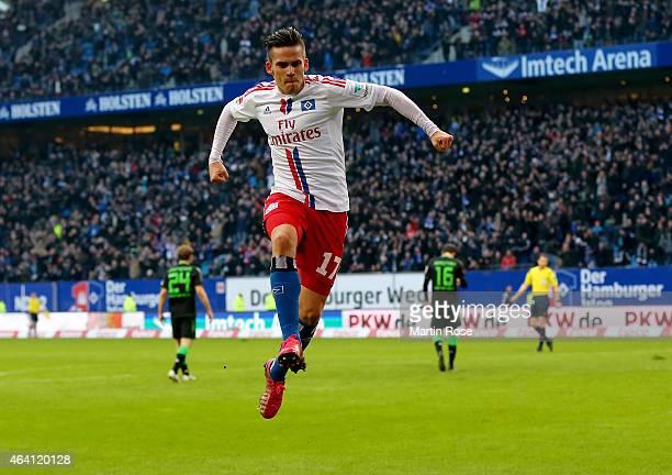 Zoltan Stieber of Hamburg celebrates after scoring the opening goal during the Bundesliga match between Hamburger SV and Borussia Moenchengladbach at...