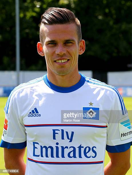 Zoltan Stieber of Hamburger SV poses during the team presentation of Hamburger SV at Volksparkstadion on July 15 2015 in Hamburg Germany