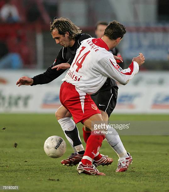Zoltan Szelesi of Cottbus battle for the ball with Theofanis Gekas of Bochum during the Bundesliga match between Energie Cottbus and VFL Bochum at...