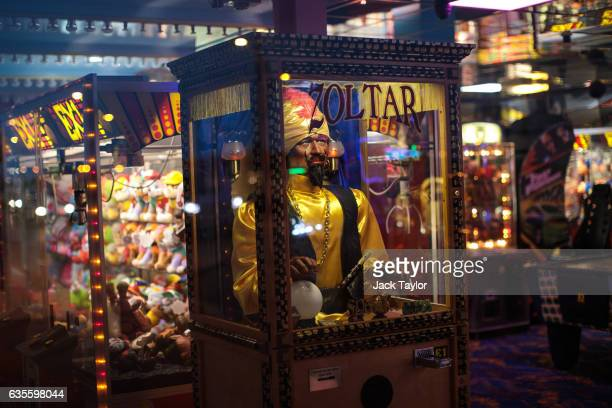 Zoltar fortune teller machine is pictured in an amusement arcade on February 8 2017 in Great Yarmouth United Kingdom The town of Great Yarmouth on...