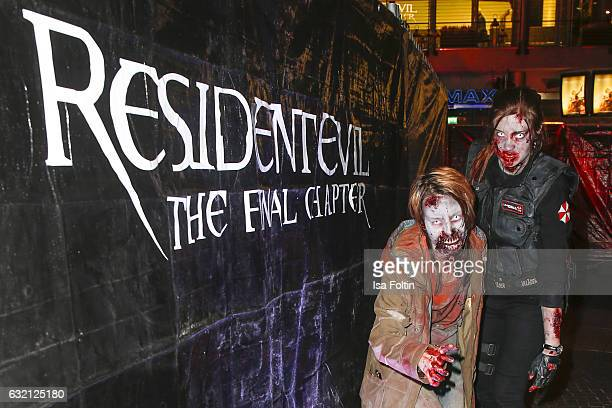Zombie actors during the Social Movie Night At 'Resident Evil The Final Chapter' premiere at CineStar on January 19 2017 in Berlin Germany