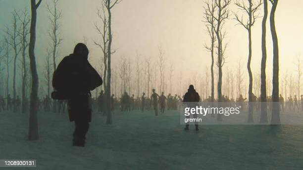 zombie apocalypse survivors in the winter forest - fictional character stock pictures, royalty-free photos & images