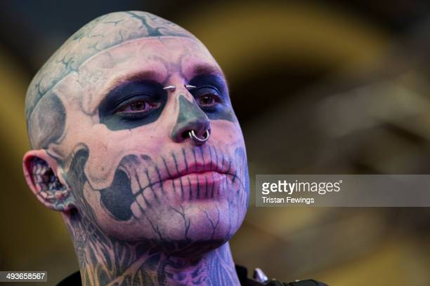 Zombie Boy attends The Great British Tattoo Show at Alexandra Palace on May 24 2014 in London England