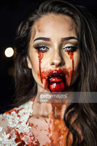 zombie bride portrait - zombie makeup stock photos and pictures