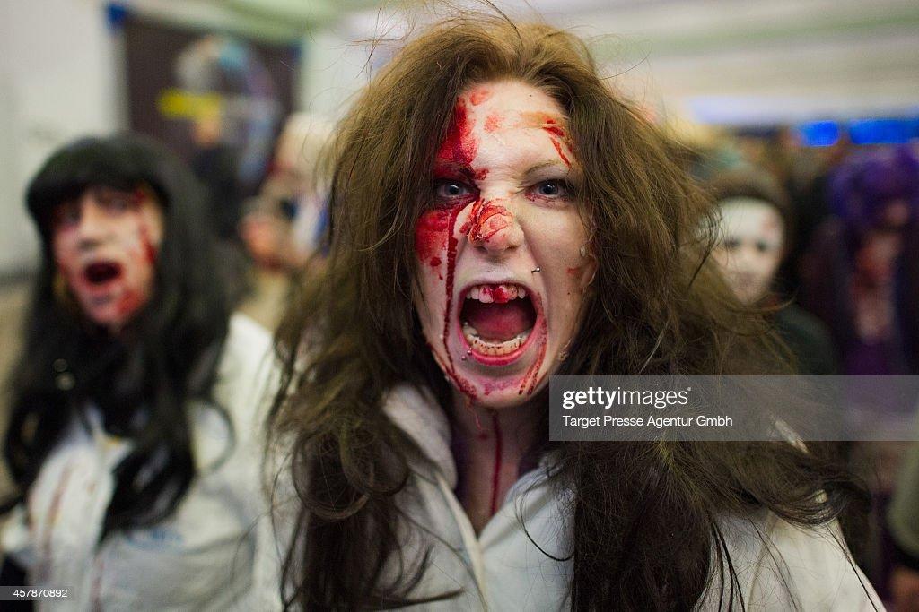 Flash Mob Gathers For Zombie Walk : News Photo