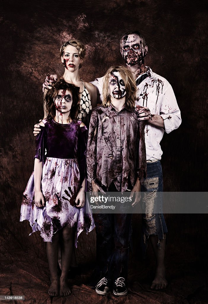 Zombie family portrait stock photo