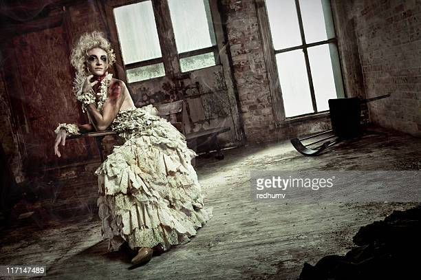 zombie fashion girl in burn dress - zombie girl stock photos and pictures