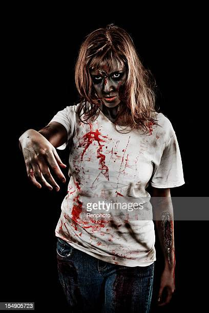 zombie girl - zombie makeup stock photos and pictures