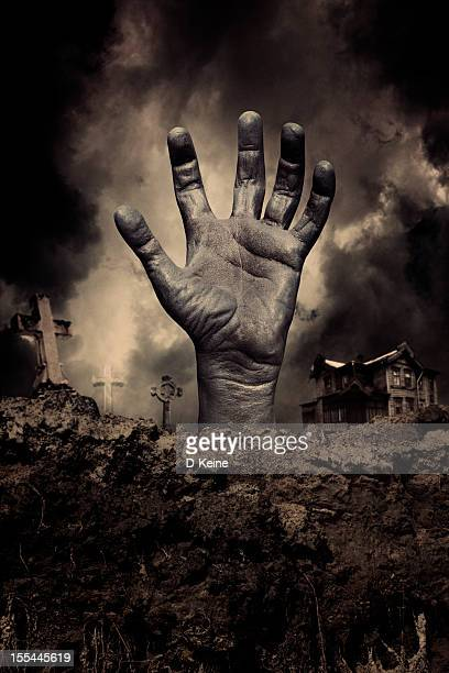 zombie hand - tombstone stock pictures, royalty-free photos & images