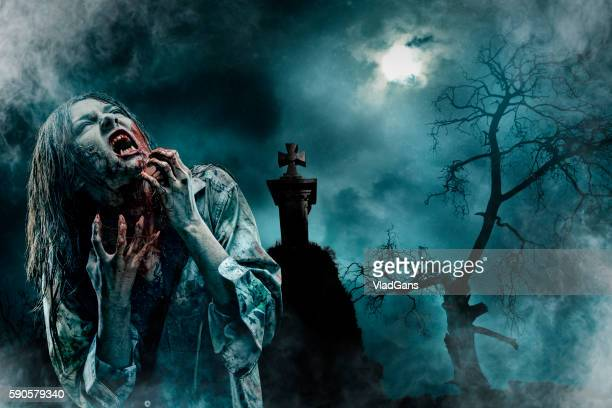 zombie in old cemetery - spooky stock pictures, royalty-free photos & images