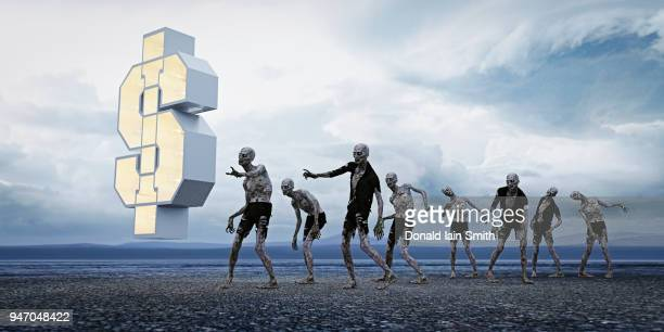zombie investment concept: group of zombies walking towards floating glowing dollar symbol - zombie stock pictures, royalty-free photos & images