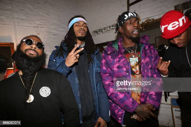Zombie Juice Erick Arc Elliot and Meechy Darko aka Flatbush Zombies pose with DJ Whoo Kid at the Adidas Prophere Launch With Brooklyn Zombies on...