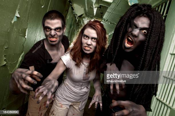 Zombie Living Dead Attack in Jail Cell Hallway