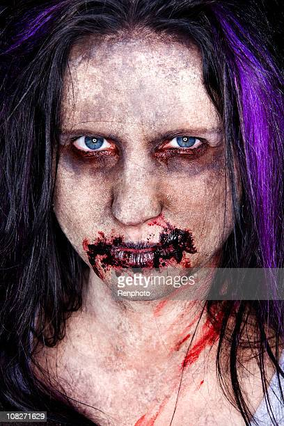 zombie portrait - zombie makeup stock photos and pictures