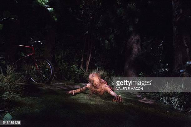 A zombie prop is seen at the Universal Studios Hollywood Opening of its New Permanent Daytime Attraction The Walking Dead in Universal City...