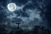 Zombie Rising Out Of A Graveyard cemetery In Spooky dark Night