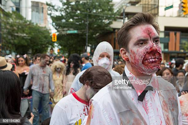 Zombie Walk Vancouver BC Canada Parade with Zombies September 2015