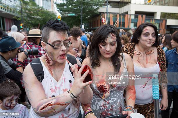 zombie walk vancouver bc canada parade with zombies september 2015 - zombie makeup stock photos and pictures