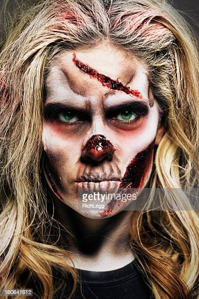zombie woman - zombie makeup stock photos and pictures