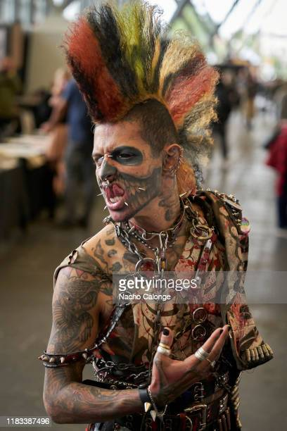 Zombiepunk one of the participants of the tattoo convention pose at the International Tattoo Convention on October 25 2019 in Amsterdam Netherlands...