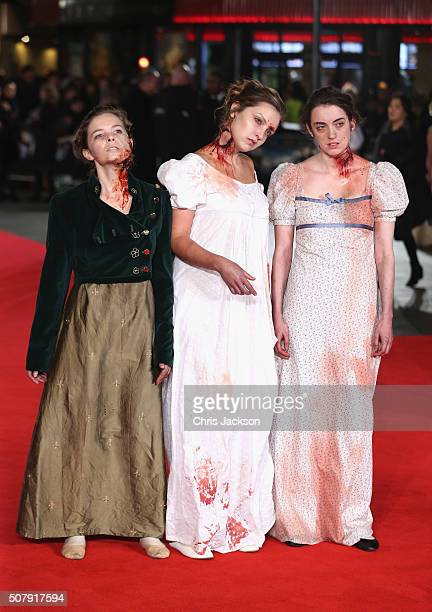 Zombies are seen on the red carpet at the European premiere of 'Pride And Prejudice And Zombies' at Vue West End on February 1 2016 in London England
