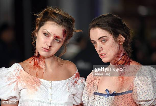 Zombies attend the European premiere of 'Pride And Prejudice And Zombies' at the Vue West End on February 1 2016 in London England