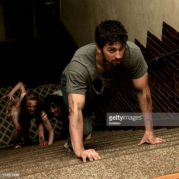 Zombies chasing man