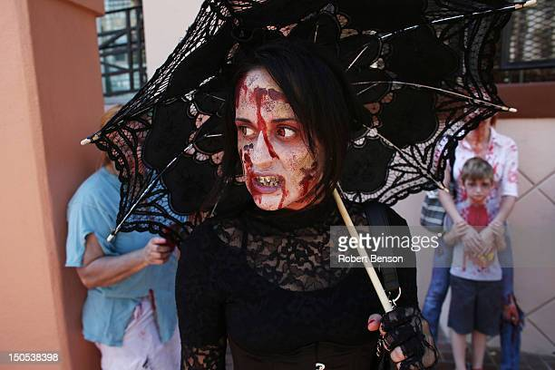 Zombies gather in San Diego where actors portraying America's first zombie presidential candidate A Zombie and his wife Patty MorganZombie greet fans...