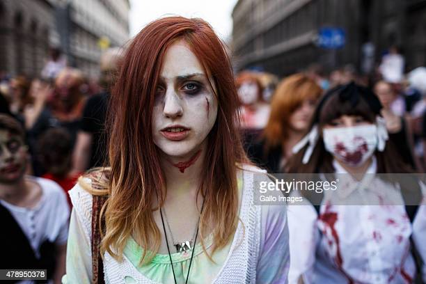 Zombies take part in the Zombie Walk on June 27 2015 in Warsaw Poland