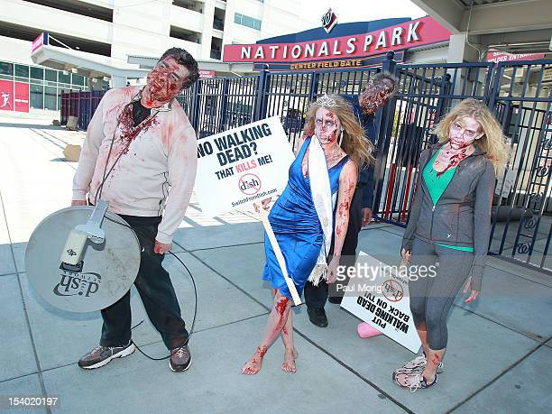 Zombies unite on the eve of World Zombie Day at Nationals Park ballpark for the Washington Nationals of MLB to persuade DISH Network to return AMC...