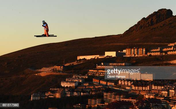 Zongyang Jia of China warms up prior to the Men's Aerials Final on day three of the FIS Freestyle Ski and Snowboard World Championships 2017 on March...