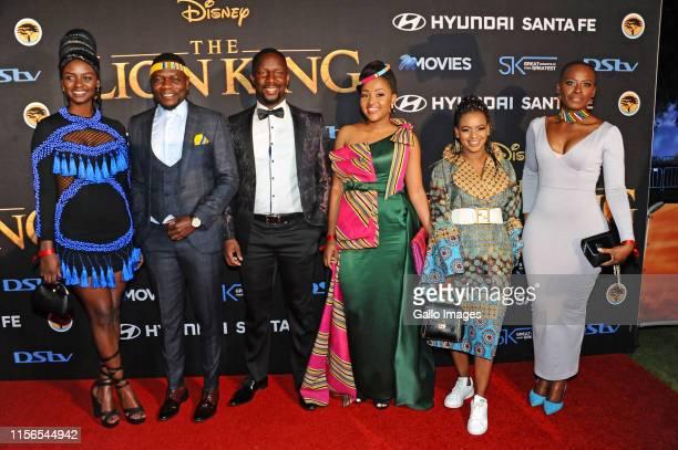 Zonke Mchunu Macdonald Ndou Nat Ramabulana Liteboho Molise Bukamina Fanele during the official South African Premiere of Disney's The Lion King at...