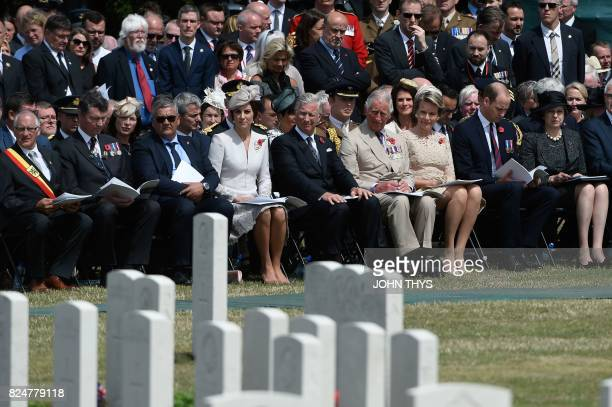 TOPSHOT Zonnebeke Mayor Dirk Sioen Vice Admiral Sir Timothy Laurence Belgium's Minister of Defence and Public Service Steven Vandeput Britain's...