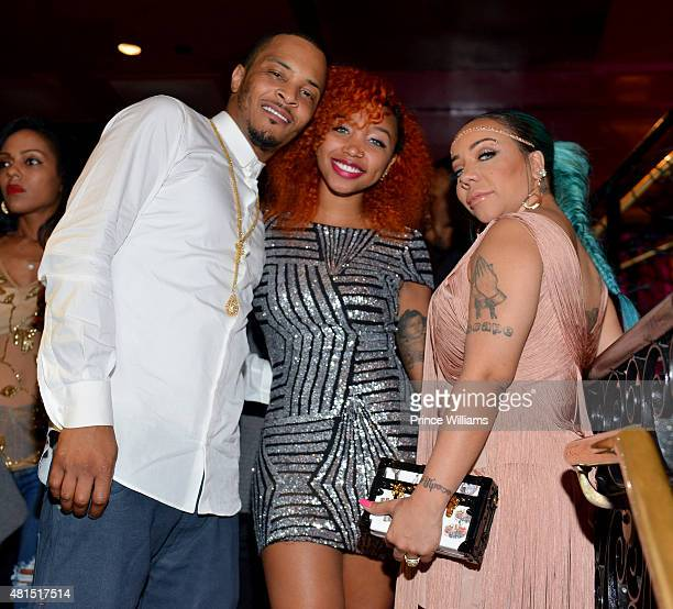 I Zonnique Pullins and Tameka 'Tiny' Harris attend 'Tiny' Tameka Harris Celebrity Birthday Affair at Scales 925 Restaurant on July 14 2015 in Atlanta...