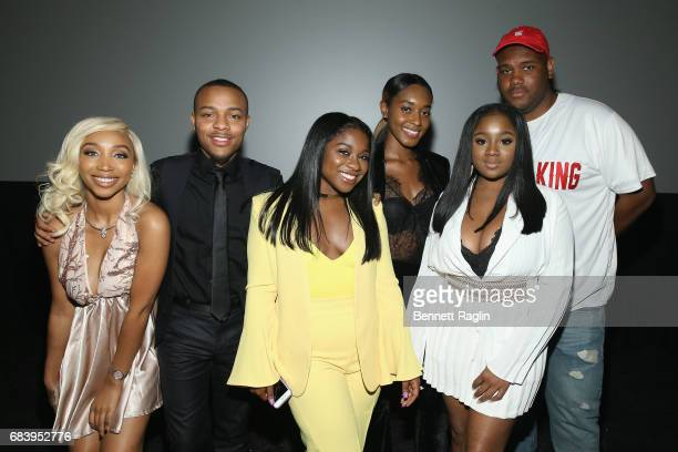 Zonnique Pullins Shad Moss Reginae Carter Shaniah Mauldin Ayana Fite and Brandon Barnes attend the WE tv's Growing Up Hip Hop Atlanta premiere...