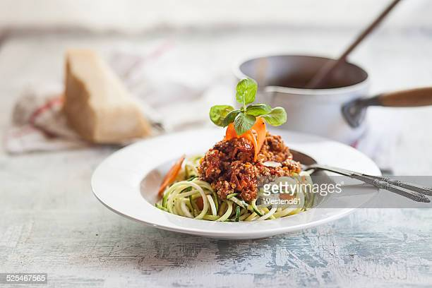 Zoodles, Spaghetti made from Zucchini, with bolognese sauce