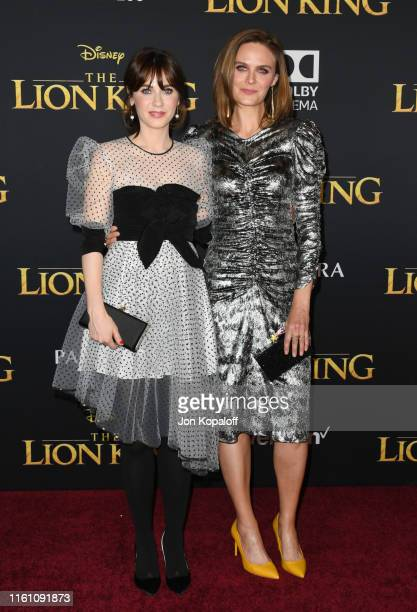"""Zooey Deschanel and Emily Deschanel attend the Premiere Of Disney's """"The Lion King"""" at Dolby Theatre on July 09, 2019 in Hollywood, California."""