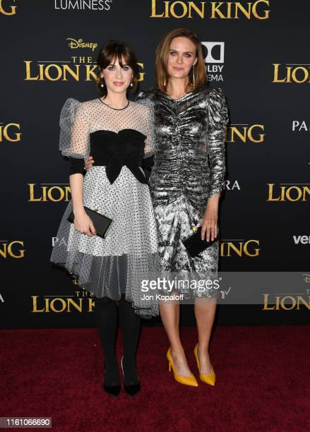 """Zooey Deschanel and Emily Deschanel attends the premiere of Disney's """"The Lion King"""" at Dolby Theatre on July 09, 2019 in Hollywood, California."""