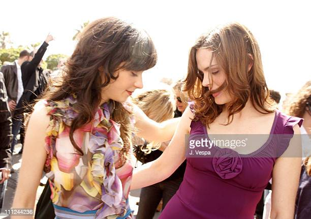 Zooey Deschanel and Emily Deschanel during Film Independent's 2006 Independent Spirit Awards Red Carpet in Santa Monica California United States