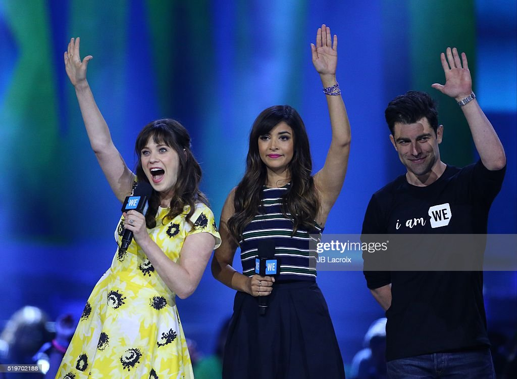 Zooey Deschanel and Hannah Simone are seen on stage at WE Day California 2016 at The Forum on April 7, 2016 in Inglewood, California.