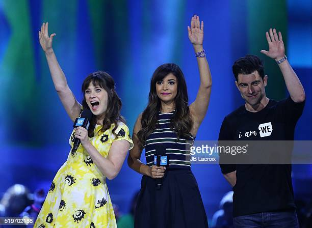 Zooey Deschanel and Hannah Simone are seen on stage at WE Day California 2016 at The Forum on April 7 2016 in Inglewood California